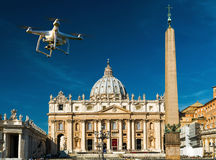 Drone over square and basilica of Saint Peter in Rome Stock Image