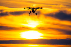 Drone over the Village at cloudy Sunset Stock Photography