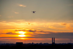 Drone over the Village at cloudy Sunset Stock Photo