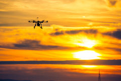 Drone over the Village at cloudy Sunset Stock Photos