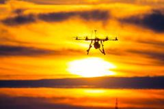 Drone over the Village at cloudy Sunset Royalty Free Stock Image