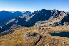 Drone photo - Autumn colors in the Colorado Rocky Mountains, Sawatch Range. Beautiful yellow fall colors of the Colorado Rocky Mountains. Sawatch Range royalty free stock images