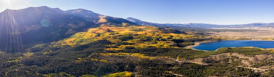 Drone photo - Autumn colors in the Colorado Rocky Mountains, Sawatch Range. Beautiful yellow fall colors of the Colorado Rocky Mountains. Sawatch Range royalty free stock photos