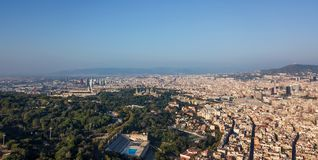 Barcelona aerial. A drone photo of Barcelona, Catalonia stock images