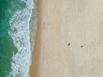 Drone photo of Barra da Tijuca beach, Rio de Janeiro, Brazil. We can see the beach and the boardwalk royalty free stock photo