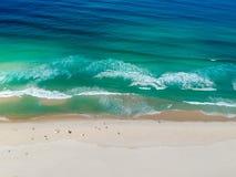Drone photo of Barra da Tijuca beach, Rio de Janeiro, Brazil. We can see the beach and the boardwalk stock photography