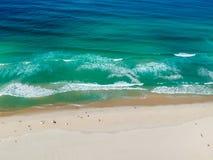 Drone photo of Barra da Tijuca beach, Rio de Janeiro, Brazil. We can see the beach and the boardwalk royalty free stock photography