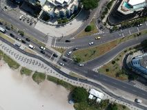 Drone photo of Pepe beach boardwalk and Lucio Costa street, Rio de Janeiro. Drone photo of Barra da Tijuca boardwalk and Lucio Costa street, Rio de Janeiro stock photos