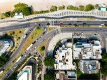 Drone photo of Pepe beach boardwalk and Lucio Costa street, Rio de Janeiro