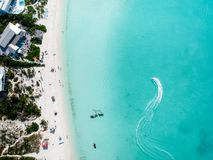 Drone photo of  beach in Sapodilla Bay, Providenciales, Turks an. Drone photo of beach in Grace Bay, Providenciales, Turks and Caicos. The caribbean blue sea and Stock Images