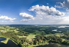 Drone photo - beautiful landscape panorama on sunnny summer day lakes, forests and blue sky royalty free stock image