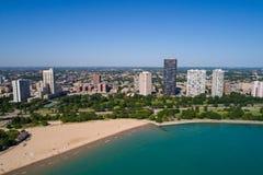 Beach scene summer in Chicago. Drone photo Chicago USA summer vacation beach Stock Photo