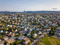 Drone Photo of the City Trondheim in Norway on Sunny Summer Day with Mountains, Fjord and Port in the Background stock images