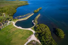 Aerial image of Deering Estate Miami FL. Drone photo of Deering Estate Miami FL bay landscape pov above Stock Photos