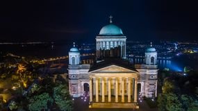 Esztergom Basilica drone photo. Drone photo of Esztergom Basilica in the night Stock Images