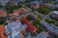 Florida State University aerial drone image. Drone photo Florida State University historical architecture overhead shot buildings Royalty Free Stock Photo