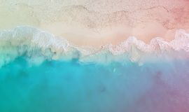 Drone panorama Grace Bay with colored light leak, Providenciales, Turks and Caicos. Drone photo of Grace Bay, Providenciales, Turks and Caicos. Only the Stock Photos