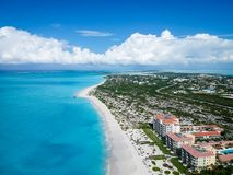 Drone photo Grace Bay, Providenciales, Turks and Caicos. Drone photo of Grace Bay, Providenciales, Turks and Caicos. The caribbean blue sea and white sandy Royalty Free Stock Image