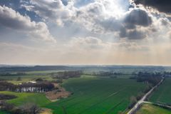 Drone photo of a green lake landscape in spring royalty free stock image