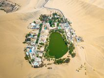 Drone photo of an Huacachina oasis in Peru. Vian desert royalty free stock photography