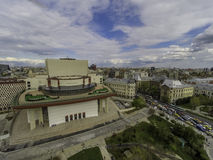 Drone photo of the National Theater, in Bucharest downtown. royalty free stock photos