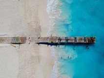 Drone photo of pier in beach in Grace Bay, Providenciales, Turks. And Caicos Royalty Free Stock Images