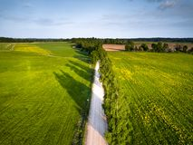 Drone Photo of the Road Between Trees in Colorful Early Spring -. Drone Photo of the Road Between Trees in Colorful Early Spring in Countryside Village Stock Photo