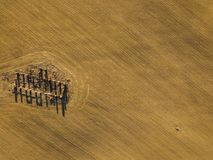 Drone photo of the ruins of an old house in countryside fields. In Small Countryside Village on a Sunny Spring Day Royalty Free Stock Images