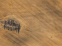 Drone photo of the ruins of an old house in countryside fields -. Drone photo of the ruins of an old house in countryside fields in Small Countryside Village on Royalty Free Stock Photography