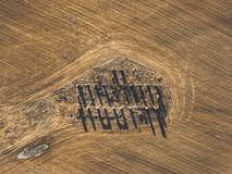 Drone photo of the ruins of an old house in countryside fields -. Drone photo of the ruins of an old house in countryside fields in Small Countryside Village on Royalty Free Stock Photo