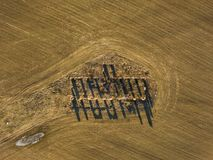 Drone photo of the ruins of an old house in countryside fields. In Small Countryside Village on a Sunny Spring Day Stock Images