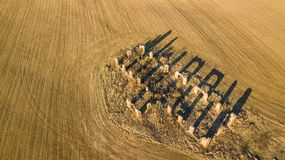 Drone photo of the ruins of an old house in countryside fields. In Small Countryside Village on a Sunny Spring Day Royalty Free Stock Photo