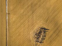 Drone photo of the ruins of an old house in countryside fields w. Drone photo of the ruins of an old house in countryside fields in Small Countryside Village on stock photography