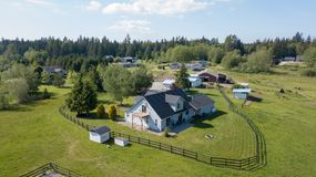 Drone view of single family house royalty free stock photography