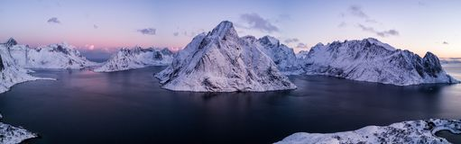 Drone photo - Sunrise over the mountains of the Lofoten Islands. Reine, Norway stock image