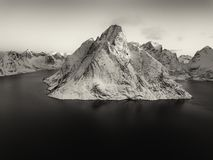 Drone photo - Sunrise over the mountains of the Lofoten Islands. Reine, Norway stock images