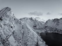 Drone photo - Sunrise over the mountains of the Lofoten Islands. Reine, Norway stock photography