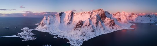 Drone photo - Sunrise over the mountains of the Lofoten Islands. Reine, Norway stock photos