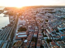Drone photo - Sunset over the Alfama District of Lisbon, Portugal stock photo