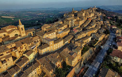 Drone photo of Treia, Macerata, Marche Italy. Aerial image of the ancient city of Treia, in the Marche Region of Italy Royalty Free Stock Images