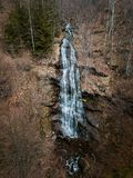 Drone photo of a waterfall. Closeup Drone photo of a waterfall mountain stara planina srbija serbia aerial river running small rock hill green scenic park view stock images