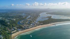 Aerial shot of coast line around Noosa in the Sunshine coast. Drone photograph of the coastline of Noosa Heads, and sunshine beach at the sunshine coast area in royalty free stock images