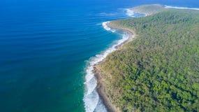 Aerial shot of coast line around Noosa in the Sunshine coast. Drone photograph of the coastline of Noosa Heads, and sunshine beach at the sunshine coast area in royalty free stock image