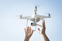 The drone and photographer man hands royalty free stock photo