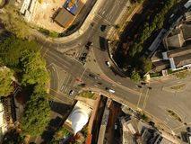 Drone Photography and Aerial shots. Town. Drone, UAV, Aerial, Video, Photography, drone operator, drone team, aerial video, aerial photography, film crew royalty free stock photo
