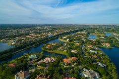 Aerial shot of Weston FL USA. Drone photography aerial weston florida usa Royalty Free Stock Photography