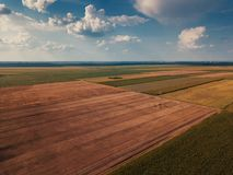Drone photography of cultivated fields in summer. Plain countryside landscape from high angle view stock photography