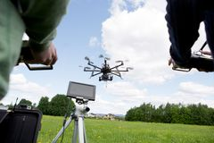 Drone Photography. Octocopter being operated by a photographer and pilot in open green park Stock Images