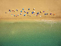 Drone photography of Platos Gialos beach with sun umbrellas. Viewed from above ;  Lassi - Argostoli in Kefalonia island; Greece Stock Photography