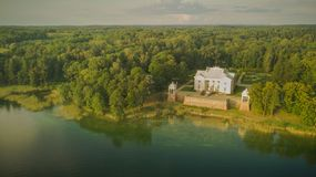 Drone photography of Uzutrakis manor stock photo